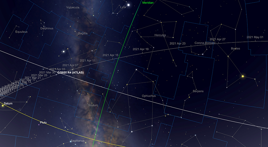 Comet 2020 R4 Atlas path, April.  Image created with SkySafari 5 for Mac OS X, ©2010-2016 Simulation Curriculum Corp., skysafariastronomy.com.