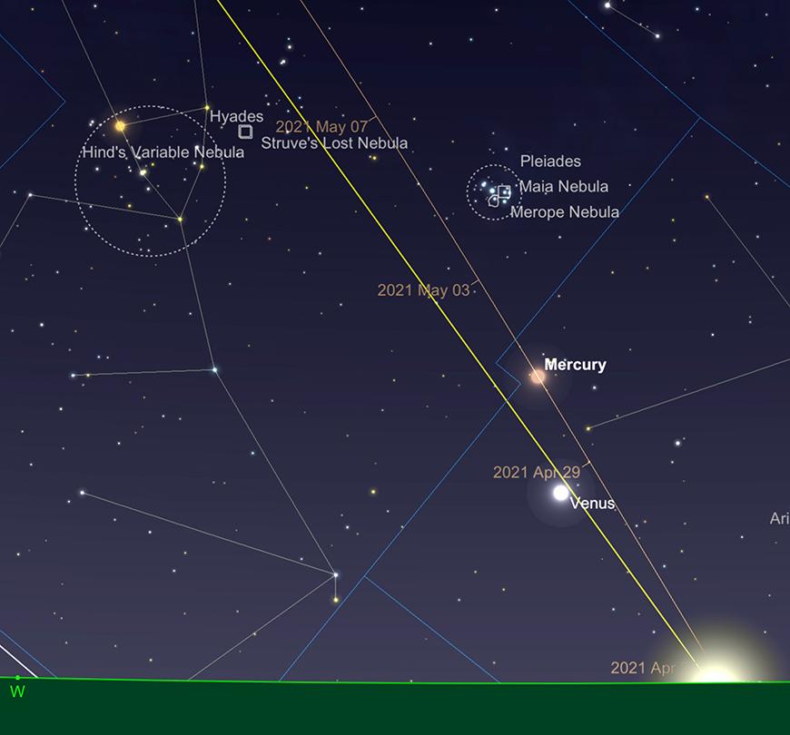 Mercury and Venus, sundown 30th April.  Image created with SkySafari 5 for Mac OS X, ©2010-2016 Simulation Curriculum Corp., skysafariastronomy.com.