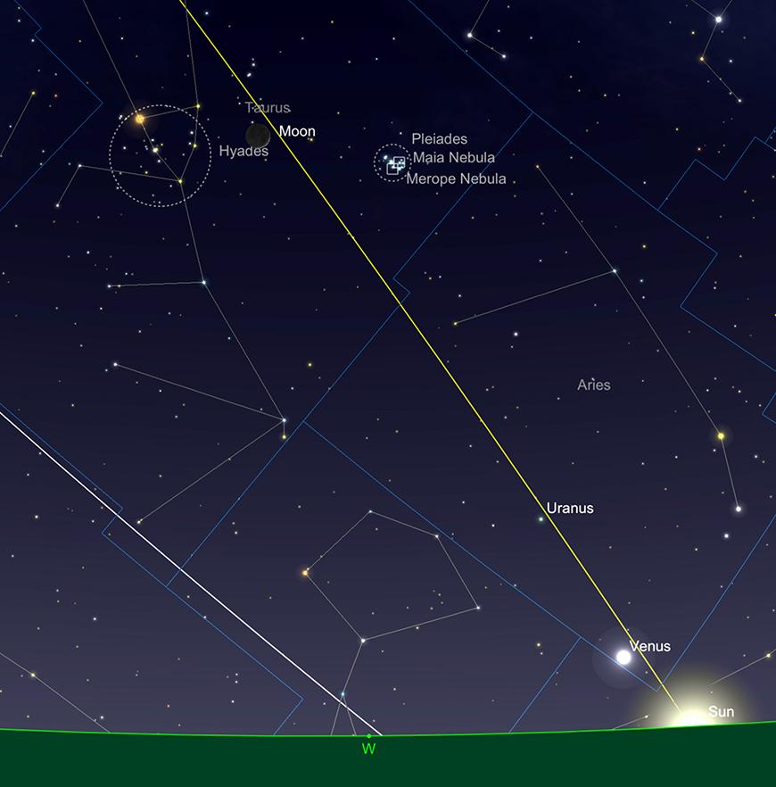 Moon in Taurus, sundown 15th April.  Image created with SkySafari 5 for Mac OS X, ©2010-2016 Simulation Curriculum Corp., skysafariastronomy.com.