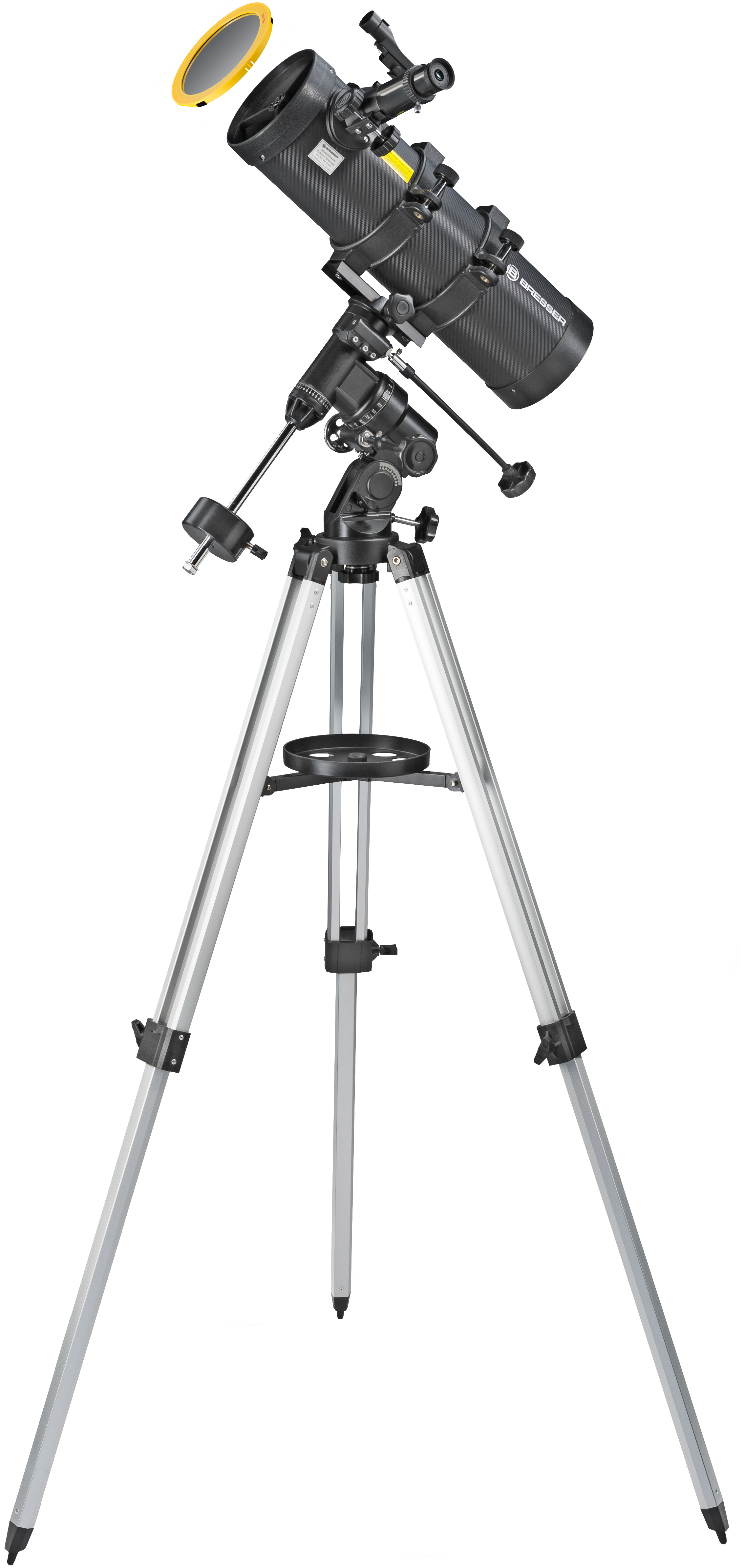 Bresser Galaxia 114//900 EQ-Sky Telescopio Newton Dise/ño de carbono con Adaptador de C/ámara de Smartphone